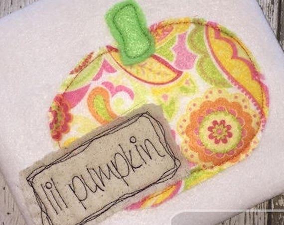 Lil pumpkin Shabby Chic Appliqué embroidery design - pumpkin appliqué design - Halloween appliqué design - Fall appliqué design - boy - girl