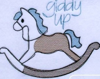 Rocking Horse Sketch Embroidery Design