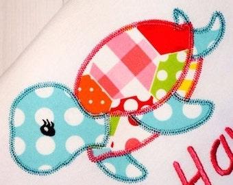 Girl Sea Turtle Appliqué embroidery design with Diagonal Square Stitching - turtle Appliqué design - girl Appliqué design - beach Appliqué