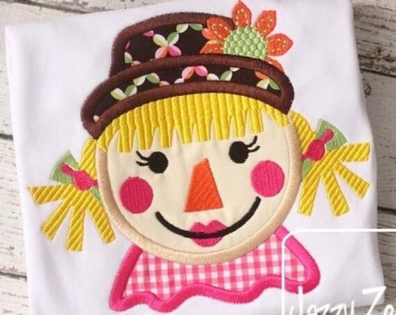 Exclusive Girl Scarecrow 75 Appliqué embroidery Design - Fall Applique Design - girl Appliqué Design - scarecrow Applique Design