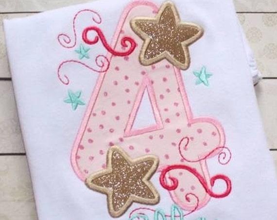 Four Stars Appliqué embroidery Design - 4th birthday appliqué design - fourth birthday appliqué design - birthday appliqué - star appliqué