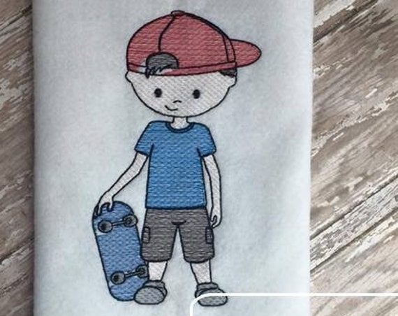 Skateboard Boy 2 Sketch Embroidery Design - skater Sketch Embroidery Design - boy Sketch Embroidery Design - skateboard Sketch Embroidery