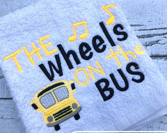 The wheels on the bus sketch embroidery design and saying - nursery rhyme embroidery design - school bus embroidery design - baby embroidery