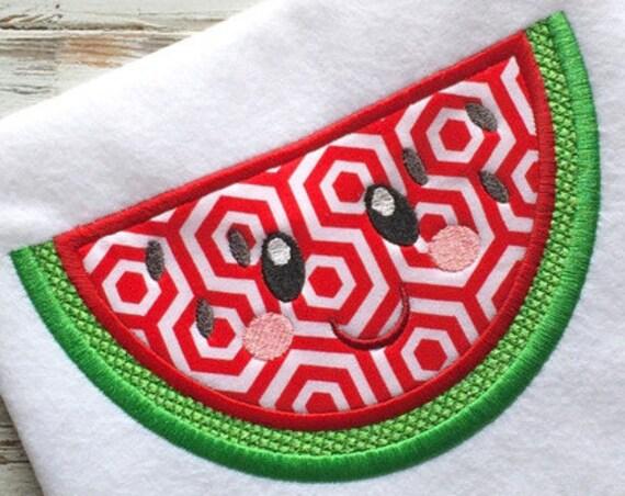 Watermelon with Face 104 Appliqué Design - watermelon appliqué design - fruit appliqué design
