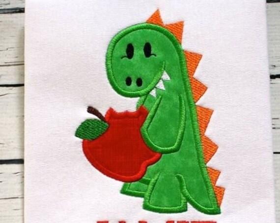 Dinosaur eating Apple Appliqué Embroidery Design - school appliqué design - teacher appliqué design - apple appliqué design - dinosaur
