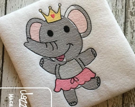 Elephant Girl sketch embroidery design - Elephant embroidery design - elephant sketch embroidery design - summer embroidery design - girl