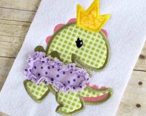 Princess Dinosaur 100 Applique embroidery Design - Dinosaur applique design - dino appliqué design - girl appliqué design - princess