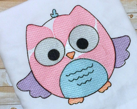 Avery Owl Sketch Embroidery Design - bird Sketch Embroidery Design - owl Sketch Embroidery Design