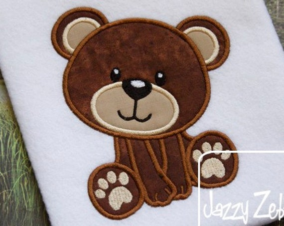Bear 26 Appliqué embroidery Design - bear appliqué design - zoo appliqué design - baby appliqué design