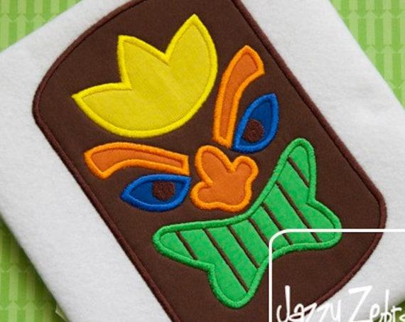 Tiki Mask Applique embroidery design - hawaii applique design - beach appliqué design - luau appliqué design - summer appliqué design