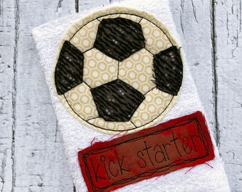 Kick starter saying soccer ball shabby chic bean stitch appliqué machine embroidery design