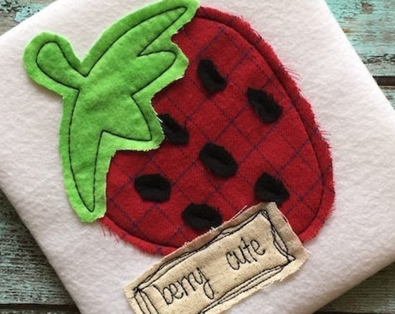 Berry Cute Strawberry Shabby Chic applique embroidery design - strawberry appliqué design - berry cute saying embroidery design