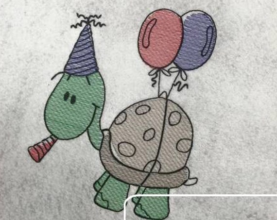 Turtle Birthday Sketch Embroidery Design - turtle Sketch Embroidery Design - birthday Sketch Embroidery Design - balloons Sketch Embroidery