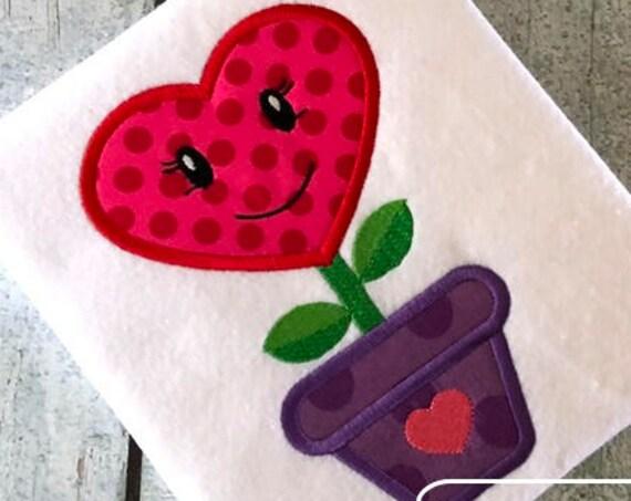 Heart Flower in pot Valentines day appliqué embroidery design - flower appliqué design - Valentines day appliqué design - heart appliqué