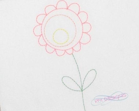 Flower 4 Color Work Embroidery Design - Flower 4 red Work Embroidery Design - flower Embroidery Design - spring Embroidery Design - vintage