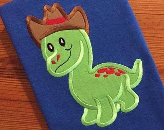 Dinosaur wearing cowboy hat Appliqué embroidery design - Dinosaur applique design - dino appliqué design - cowboy appliqué design