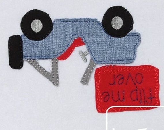 Flip me over shabby chic appliqué embroidery design - jeep appliqué design - 4x4 off road appliqué design - boy appliqué design -shabby chic