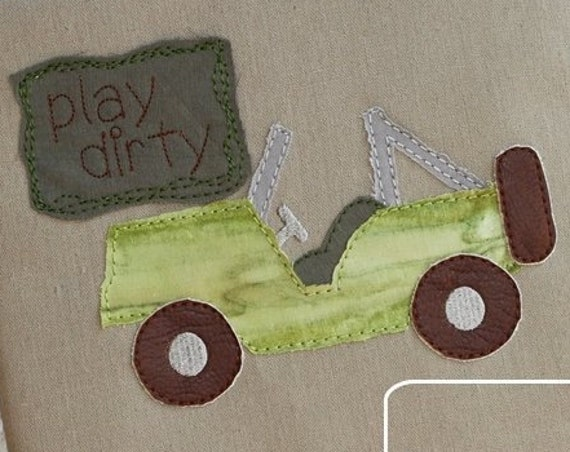 Play dirty shabby chic appliqué design - jeep appliqué design - shabby chic appliqué design - boy appliqué design - 4x4 off road appliqué