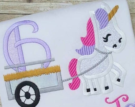 Unicorn with number 6 in cart appliqué embroidery design - Unicorn applique design - 6th birthday applique design - sixth birthday applique