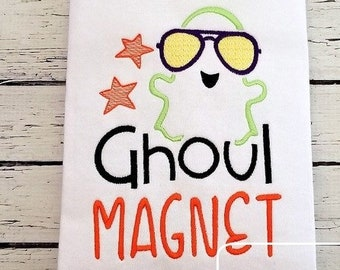 Ghoul magnet saying Halloween ghost machine embroidery design