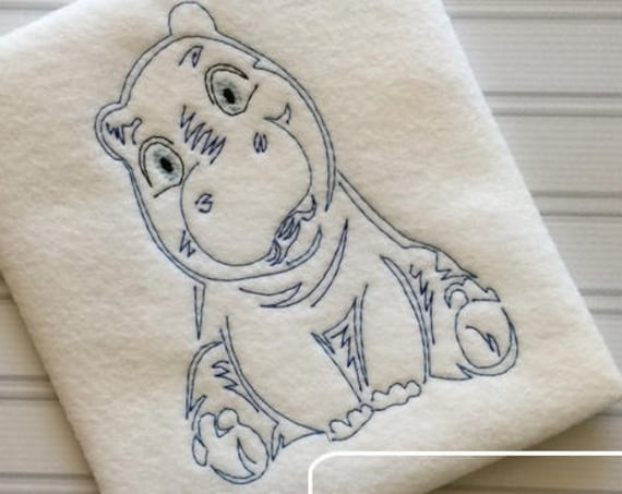 Baby Hippo color work embroidery design - hippo embroidery design - baby embroidery design - vintage embroidery design - zoo embroidery