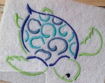 Sea Turtle satin stitch machine embroidery design