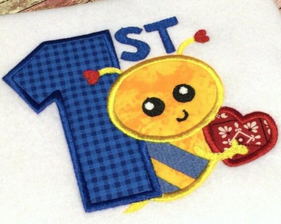 1st Valentine Bee Boy Appliqué Design - Valentines day appliqué design - Valentine appliqué design - 1st Valentines day appliqué design