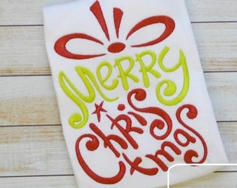 Merry Christmas Words in Gift Outline Embroidery Design - Christmas Embroidery Design - gift Embroidery Design - Merry Christmas Embroidery