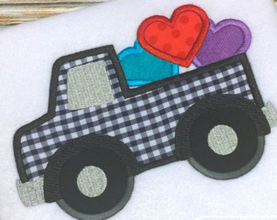 Truck with hearts Appliqué Embroidery Design - Valentines day appliqué design - Valentine appliqué design - truck appliqué design