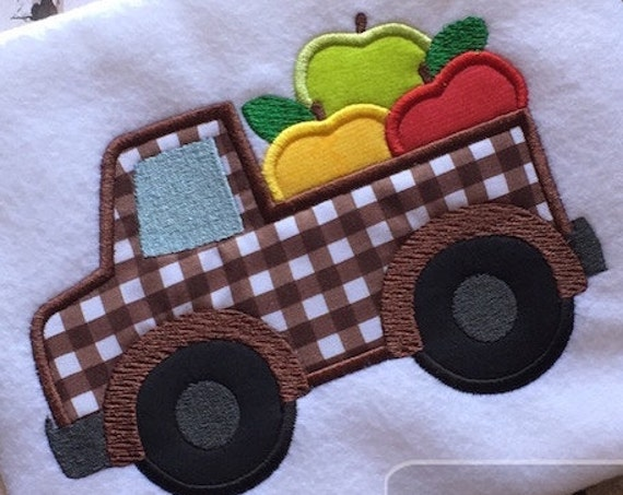Truck with Apples Appliqué Embroidery Design - Fall appliqué design - truck appliqué design - apple appliqué design - boy appliqué design