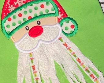Ribbon Santa Clause applique machine embroidery design