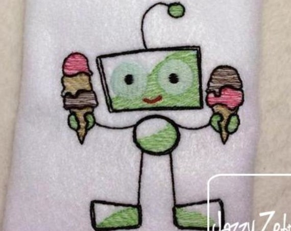 Robot with Ice Cream Sketch Embroidery Design - robot Sketch Embroidery Design - ice cream Sketch Embroidery Design - summer Sketch