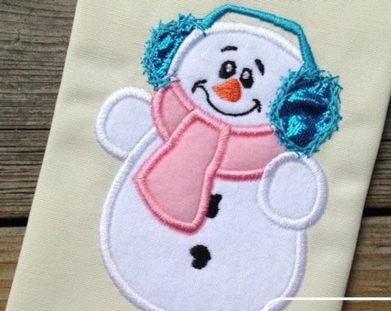Snowman 81 Appliqué embroidery Design - Snowman appliqué design - snow boy appliqué design - winter appliqué design - snow man appliqué