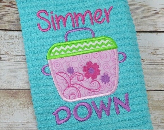 Simmer Down saying Applique Embroidery Design - kitchen saying embroidery design - cooking pot appliqué design - kitchen appliqué design