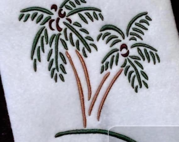 Palm Trees Satin Stitch Outline Embroidery Design - trees Embroidery Design - palm tree Embroidery Design - beach Embroidery Design - summer