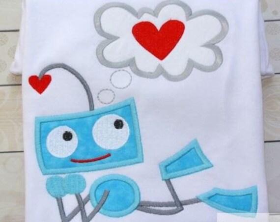 Robot Love Appliqué Embroidery Design - Valentines Day applique design - Valentine appliqué design - robot applique design