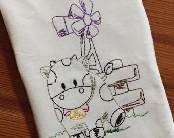Cow with windmill vintage stitch machine embroidery design