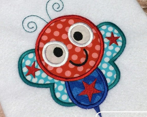 July 4th Bumble Bee Appliqué embroidery Design - bug Applique Design - bee Applique Design - 4th of july Appliqué Design - summer Appliqué