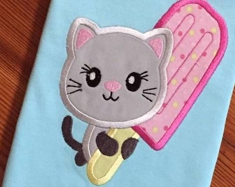 Kitten with popsicle appliqué machine embroidery design