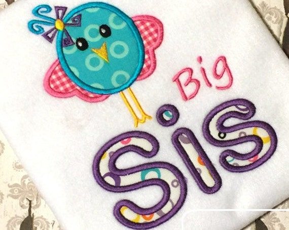 Big Sis Birdy Appliqué Embroidery Design - bird appliqué design - sister appliqué design - sis appliqué design - girl appliqué design