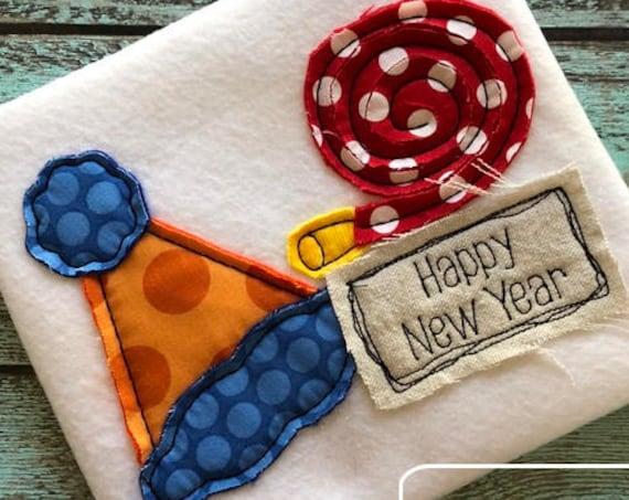 Happy New Years shabby chic appliqué embroidery design - Happy new years appliqué design - new year embroidery design - boy or girl design
