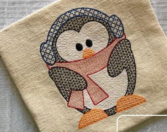Winter Penguin motif filled embroidery design - penguin embroidery design - winter embroidery design - motif embroidery design - girl design