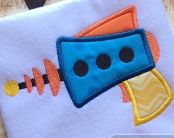 Retro Ray gun appliqué embroidery Design - ray gun appliqué design - space appliqué design - alien appliqué design