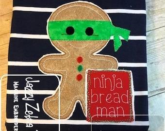 Ninja bread man gingerbread man shabby chic applique machine embroidery design
