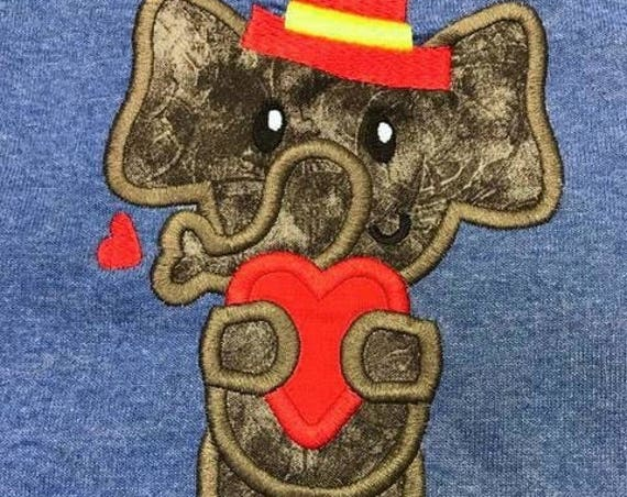 Elephant wearing top hat with valentine heart appliqué embroidery design - Elephant appliqué design - Valentines day appliqué design - heart
