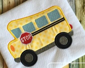 School Bus Appliqué Machine Embroidery Design