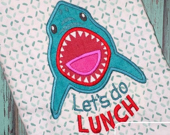Lets Do Lunch saying Shark applique machine embroidery design