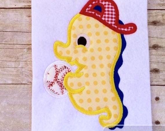 Seahorse Boy playing baseball Appliqué embroidery Design - baseball Appliqué Design - sea horse Appliqué Design - seahorse Appliqué Design