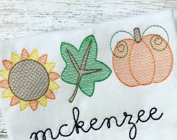 Fall trio 2 sketch embroidery design - sunflower embroidery design - pumpkin embroidery design - leaf embroidery design - sketch embroidery