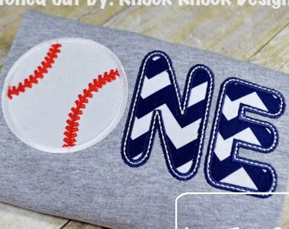 One Baseball Appliqué embroidery Design - 1st birthday appliqué design - one year old